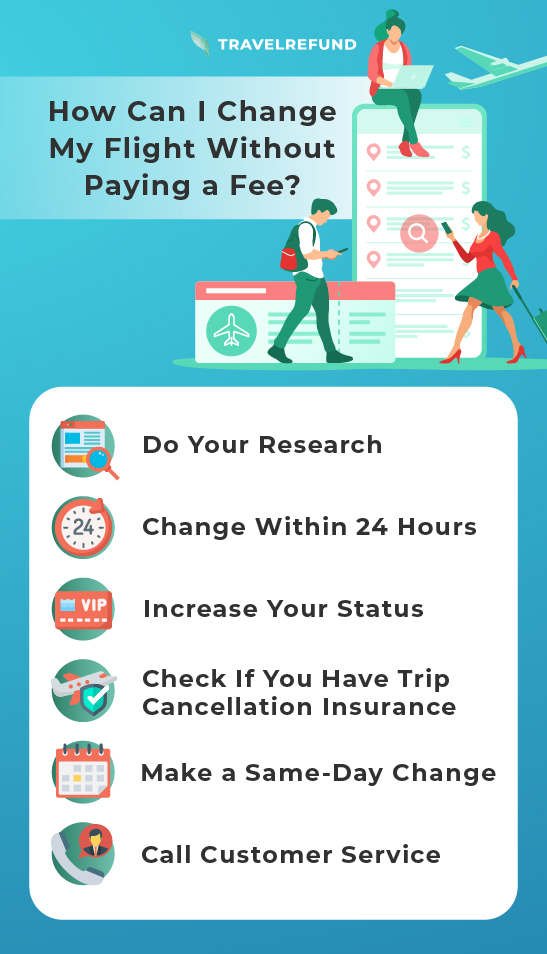 infographic depicting tips for changing your flight without fees