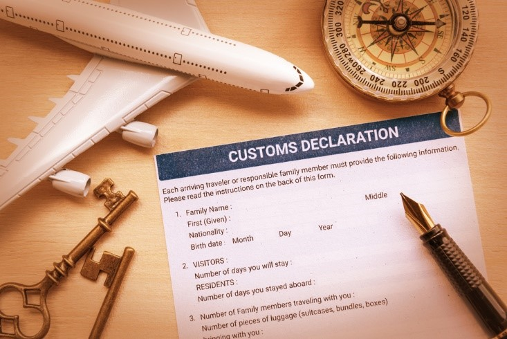 a customs documents on a table waiting to be filled out
